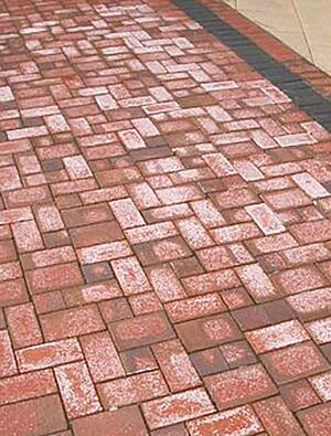 Efflorescence white haze on patio pavers