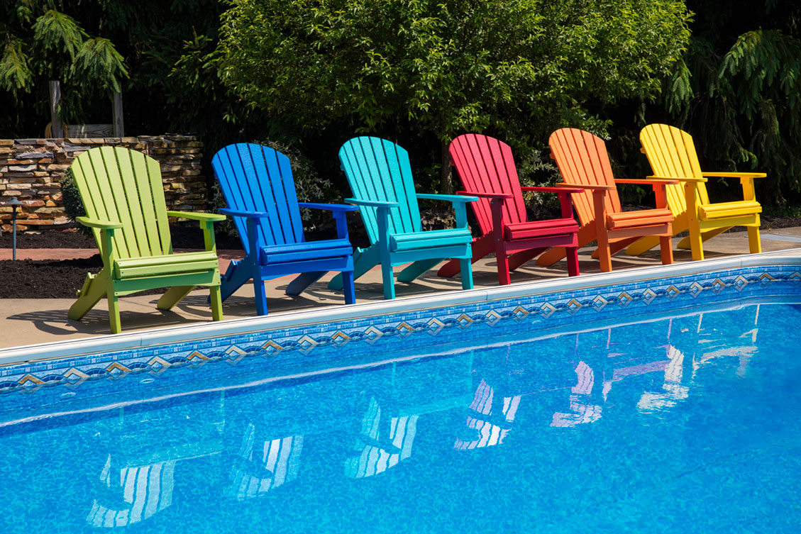 A variety of juicy colored, Amish-crafted Adirondak chairs